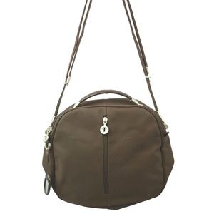 MANDARINA DUCK BROWN NYLON SHOULDER BAG
